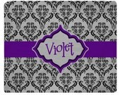 Black & Grey Damask with Dark Purple Accent Plush Fuzzy Area Rug -Size 48x30, 60x48, 96x44, 96x60 Other Colors available