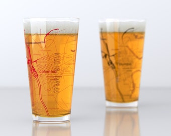 Columbia, SC - University of South Carolina - College Town Pint Map Glasses