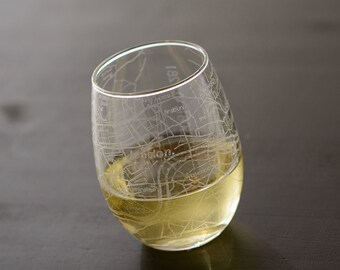 London Map Stemless Wine
