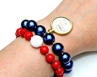 Red White Blue Bracelets Coin Bracelet Authentic 2016 Nickel Pearl Coral Gold Beads American USA Liberty Fourth July Patriotic by Mei Faith