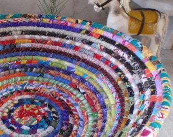 Coiled Basket - Gypsy LARGE - Organizer, Storage, Bohemian Handmade Basket, Colorful