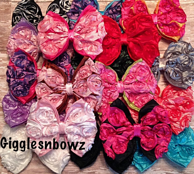 5 Satin Rosette Ribbon Bows 4 Quot Fabric Bows You Choose