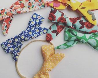 3 school girl bows (nylon elastic/alligator clip)