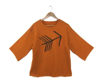 Tribal Arrow Tunic - Fleece Oversized 3/4 Sleeve Scoop Neck Sweatshirt Tunic in Rust and Black - Women's Size S-4XL