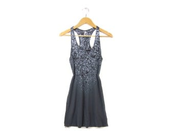 "Particle Theory Tank Dress - Original ""Splash Dyed"" Hand PAINTED Scoop Neck Racerback Dress in Asphalt Grey - Women's SIze XS-4XL"