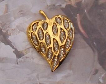 Vintage Heart Brooch Rhinestones Encased in Leaf Fluid Design Lovely Quality Brooch