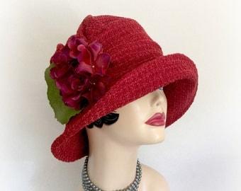 Red Winter Cloche - Handmade Cloche - Downton Abbey Cloche - Vintage Style Cloche - Red Fabric Cloche - Women's Fashion Cloche - Cloche Hat