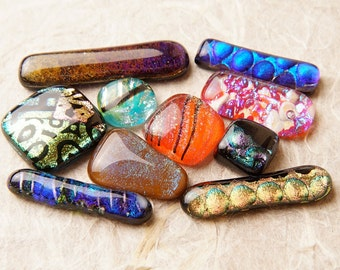 Lot of 10 Dichroic Fused Glass Beads Cabs Cabochons