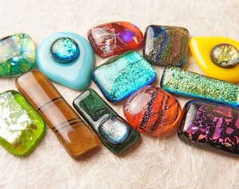 Lot of 12 Dichroic Fused Glass Beads Cabs Cabochons