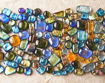 Lot of 100 Dichroic Fused Glass Beads Cabs Cabochons