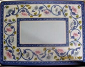 """Vintage Pimpernel Place Mat, China Rose, White and Blue Shaded Roses, Blue Leaves, Blue Floral Border, 12""""x9"""", Rounded Borders"""