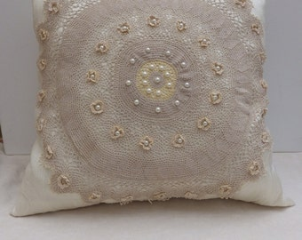 Antique Crochet Shabby Chic Cushion or Pillow Cover, Vintage Doily Cushion Cover, Antique Cushion Cover
