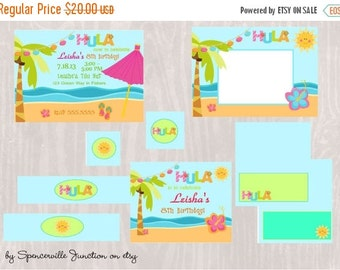 ON SALE Digital Luau Birthday Pool Party Invitation with Printable Party Pack