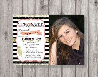 Digital Gold Glitter Floral Congratulations Photo Graduation Party Invitation Printable