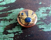 Vintage Copper Pill box With bird and Lapis Luzi Stones from Chile