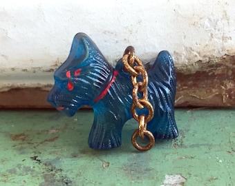 Vintage Celluloid Blue Scottie dog cracker jack charm necklace pendant.