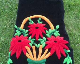 Antique Black Velvet Wool Punch Needle Table Runner/Pillow Flowers/BAsket