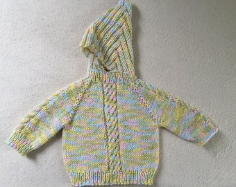 Baby Sweater Hand Knit Hooded Zip Back Hoodie 0 - 6 Mths Acrylic Pastel Colors Free US Shipping!