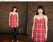25% off Vintage 90s Plaid Mini Dress 1990s Revival Jumper (XS)