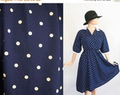 Vintage Deep V Secretary Dress / 1980s Cerulean Navy Blue Polka Dot Dress / 80s Dolman Sleeve Midi Dress / Shirtdress / Medium / Large