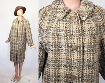 Vintage 50s Swing Tweed Coat / 1950s Dress Coat / 1960s Winter Wool Coat / 60s Mid-Century Jacket / Cream + Brown + Gray / Plaid / Large