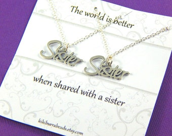 Set of two Sisters necklaces, Sisters Gift Set, Sterling Silver handwriting Necklaces, Big sister Little Sister Gift, Gift Boxed Jewelry
