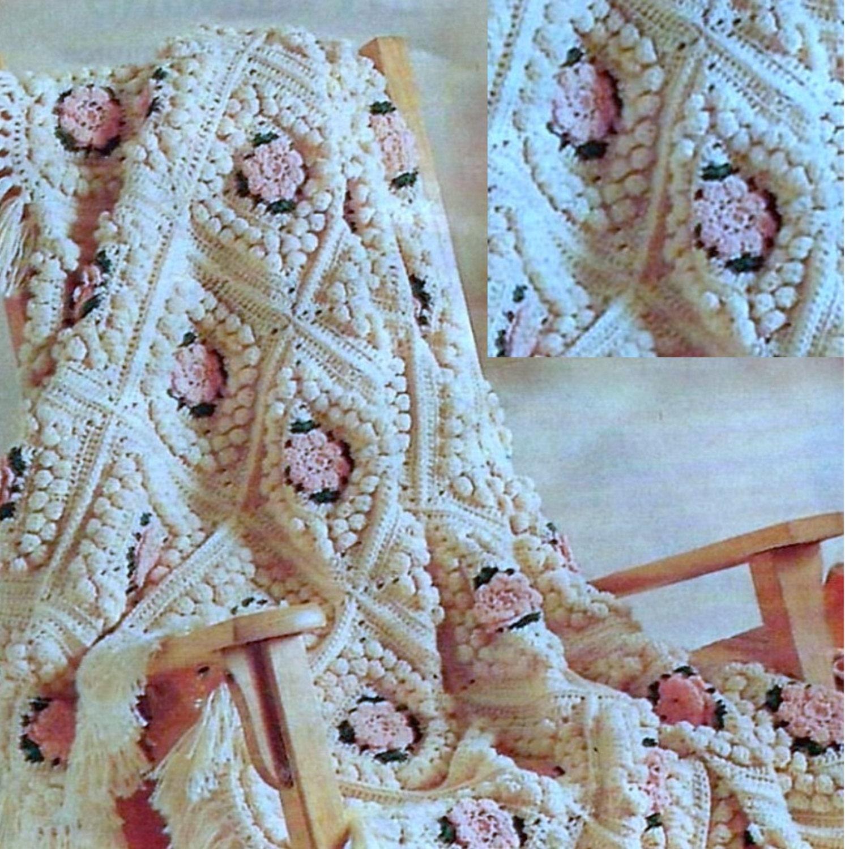Vintage Crochet Pattern For Floral Popcorn Afghan Instant