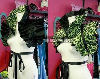 Dramatic Shoulder collar bolero wrap Reversible shrug  Cosplay Black Lemon Cheetah Final sale