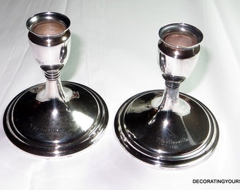 1931 Antique Finland 813H Silver Candle Stick Pair Holders Kultakeskus Oy 104g