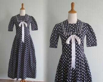 Vintage Laura Ashley Navy Polka Dot Dress - 80s Blue Sailor Dress - Vintage 1980s Dress S