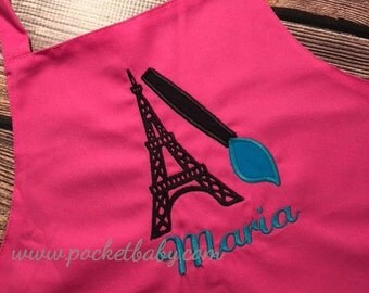 Personalized Eiffel Tower Apron - Paint Party Child Apron - Paris Party Apron - Smock - by Pocketbaby