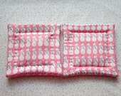 pink snowman set of 2 potholders hot pads