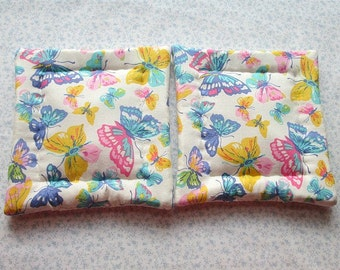 pastel butterflies hand quilted set of 2 potholders hot pads