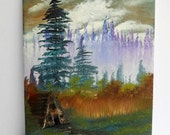 Bob Ross Style Oil Painting Landscape Scenery Wilderness Mountain Cabin Lake Evergreens, Purple Cool 9 x 12 Stretched Canvas