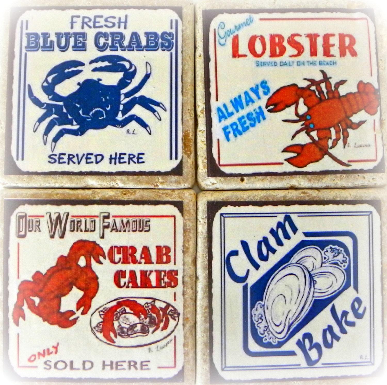 Drink coasters nautical stone coasters crabs lobsters - Stone coasters for drinks ...