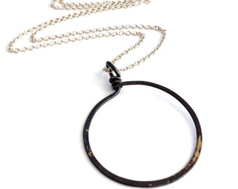 Large Gunmetal Hoop Necklace. Open Circle Sterling Silver Necklace