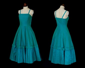 Original Vintage 1950s Turquoise Taffeta Party Dress - Small - FREE SHIPPING WORLDWIDE