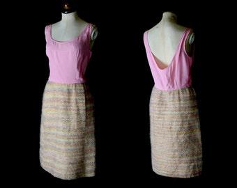 Original Vintage 1960s Pink Tweed Dress - Medium - FREE SHIPPING WORLDWIDE