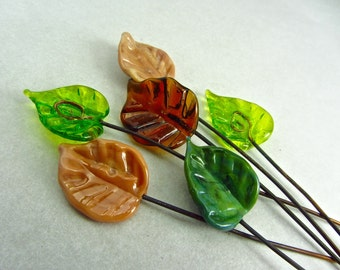 Leaf Headpins - Handmade Lampwork Glass Bead SRA