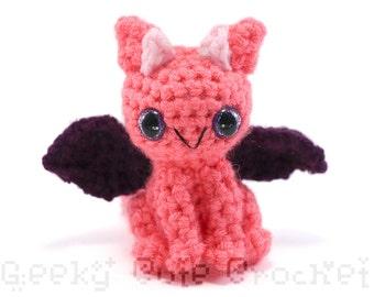 Dragon Amigurumi Crocheted Toy Neon Kawaii Pink Purple