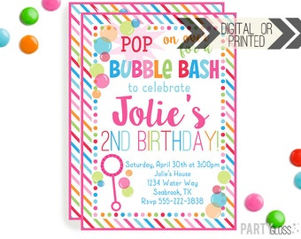 Bubble Party Invitation | Digital or Printed | Bubbles Invitation | Bubble Party | Bubbles Birthday Party | Pink Bubble Invitations |