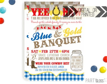 Blue Gold Banquet Invitation | Digital or Printed | Scouts Invitation | Scout Banquet Invitation |  Banquet Invite | Western Theme
