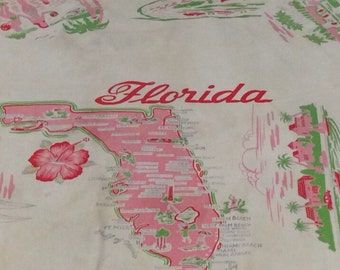 Vintage Florida Tablecloth Travel Souvenir - Sunshine State - Mid Century - Collectible State Cloth - Map - Kitchy Beach Cottage Decor