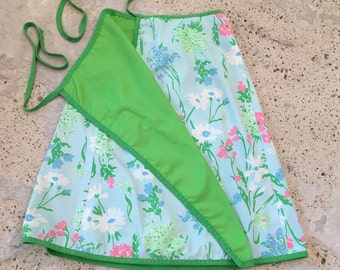 "1970s Vintage Wrap Skirt - Reversible Skirt Lime Green Blue Pink Floral - Casual Kitschy Skirt Spring Summer - Wrap Skirt up to 30"" Waist"