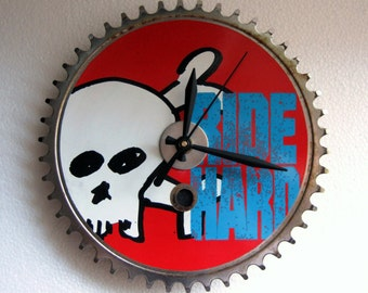 "Recycled ""Ride Hard"" Single Speed/BMX Bicycle Chainring Wall Clock"