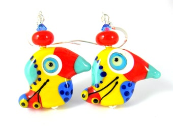 Colorful Funky Bird Earrings, Unique Earrings, Animal Earrings, Multicolor Statement Dangle Earrings, Bright Color Lampwork Glass Earrings