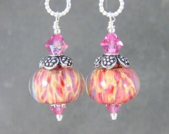 Pink Yellow Glass & Sterling Silver Dangle Earrings, Colorful Summer Jewelry, Boho Earrings, Boro Lampwork Earrings, Gypsy Jewelry, Bohemian