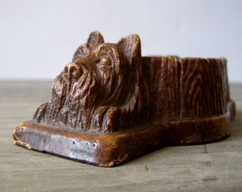 Vintage Syroco Terrier Pipe Rest ~ Brown Dog Pipe Stand ~ Scottish Terrier