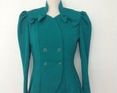 SUMMER SALE French vintage 1980s green peplum-like fitted blazer with bows - medium M