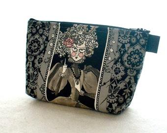 Mathilde Ghastlie Fabric Large Cosmetic Bag Zipper Pouch Padded Makeup Bag Zip Pouch Alexander Henry Ghastlies Gray Black Halloween GGS